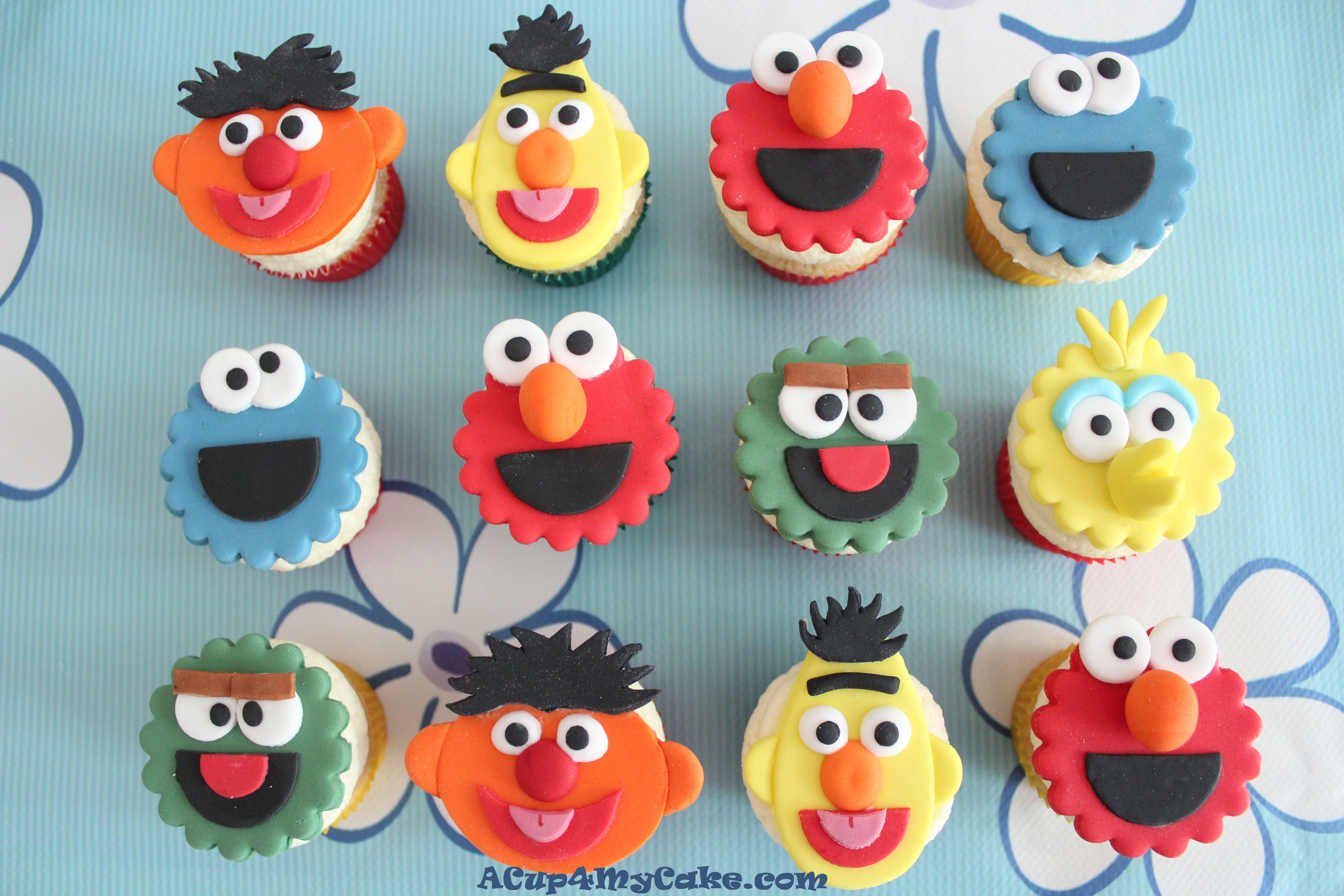 Sesame Street Cupcakes  Cookie Monster Cake & Sesame Street Cupcakes