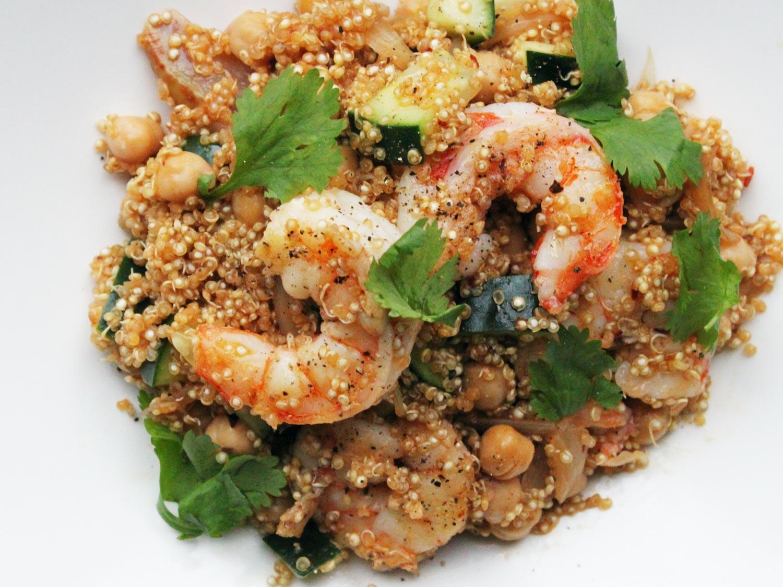 Shrimp And Quinoa  Harissa Quinoa With Shrimp and Chickpeas Recipe