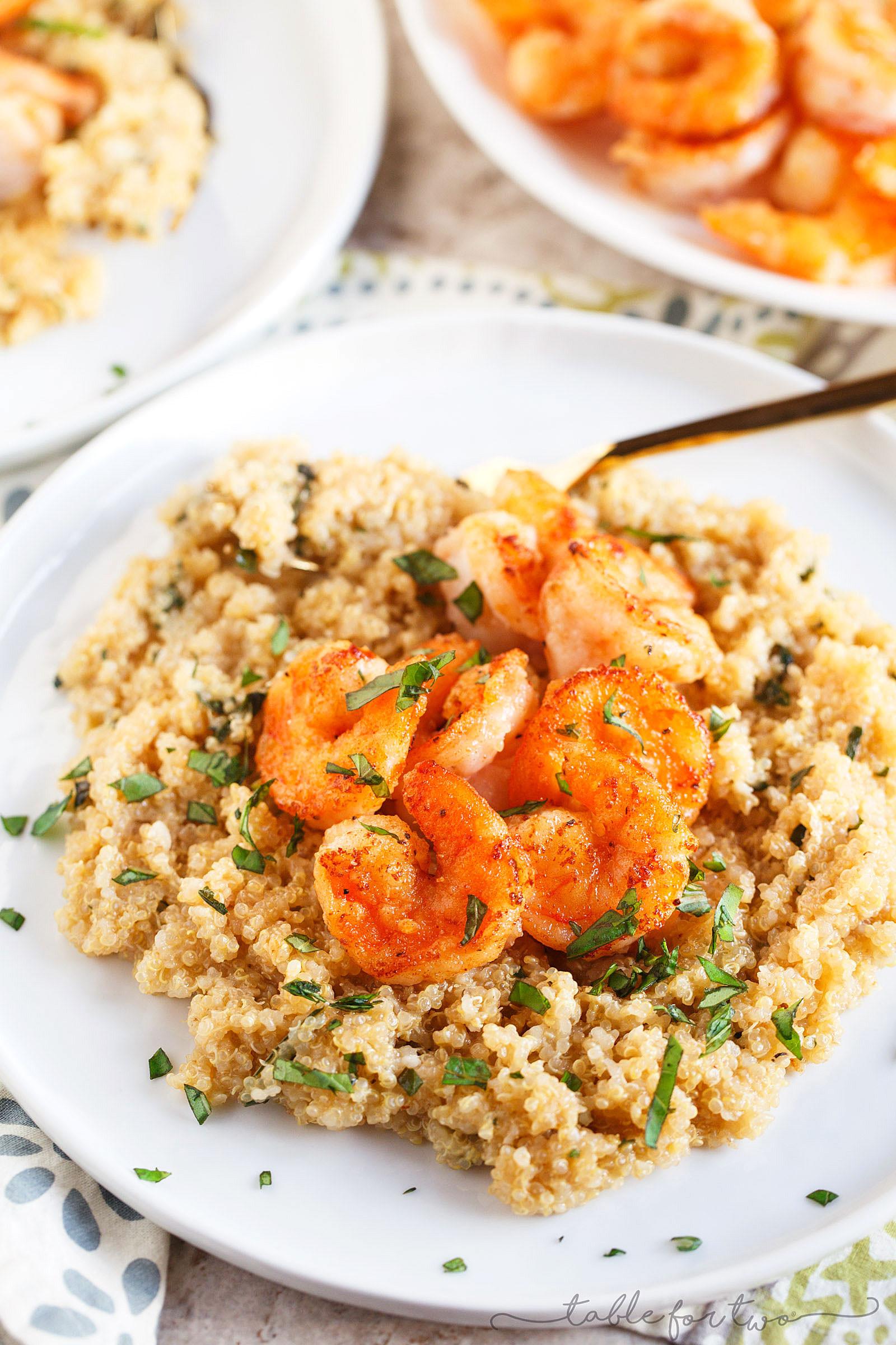 Shrimp And Quinoa  Garlic Butter Shrimp and Quinoa Table for Two