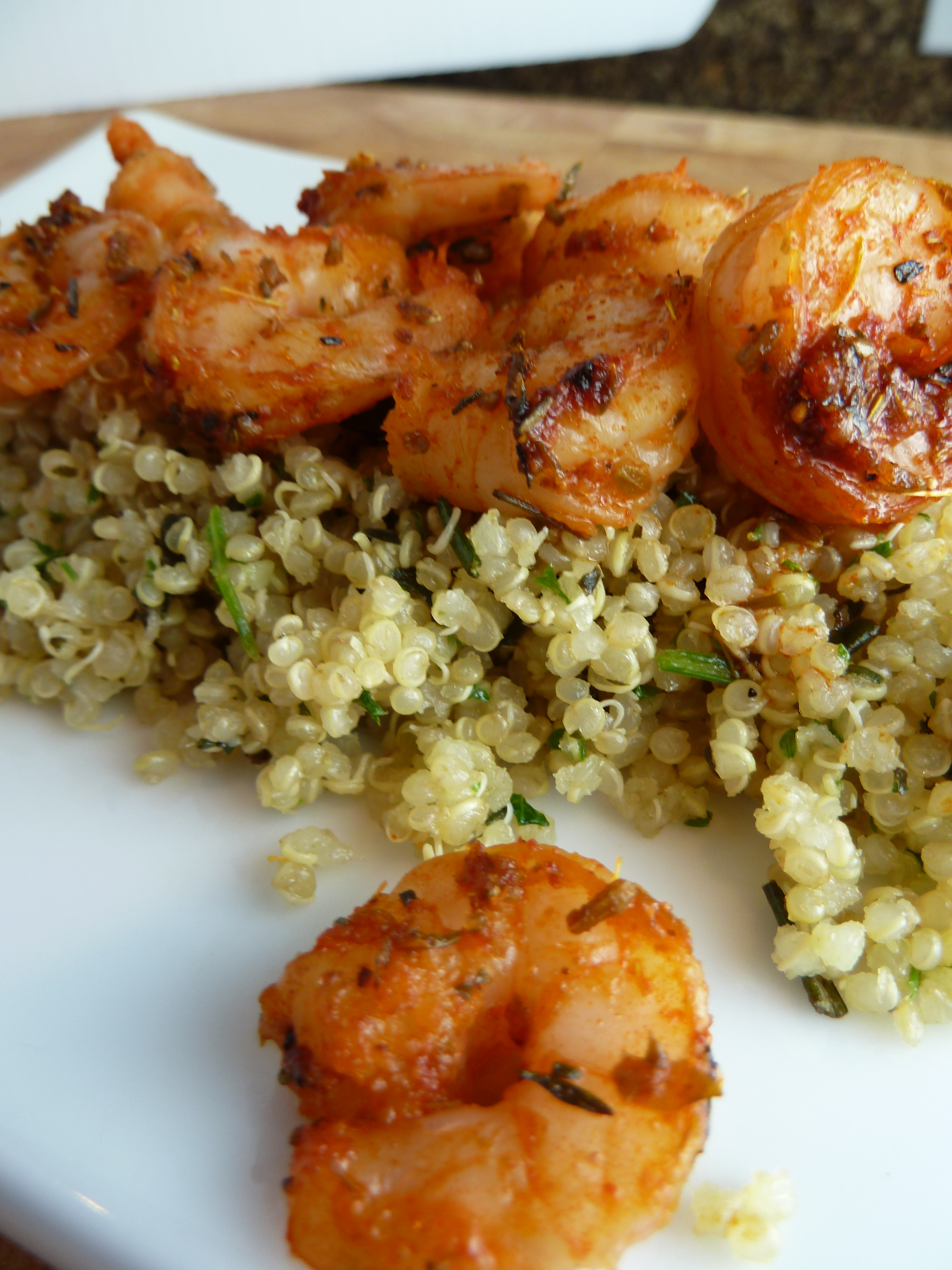 Shrimp And Quinoa  Quinoa with Spice Roasted Shrimp and Pistou