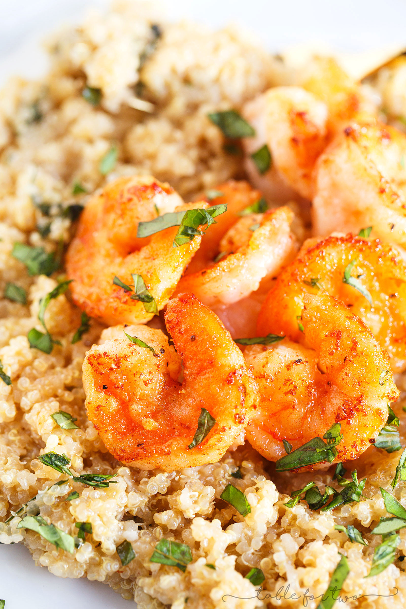 Shrimp And Quinoa  Garlic Butter Shrimp and Quinoa Table for Two by Julie