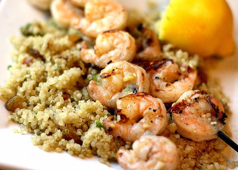 Shrimp And Quinoa  Grilled Garlic Shrimp Quinoa with Garlic Nuts and