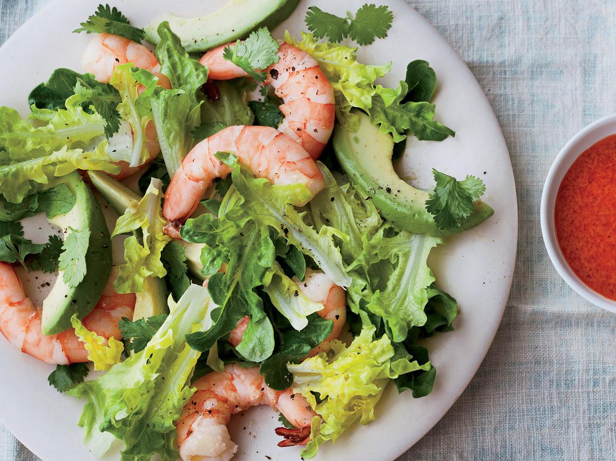 Shrimp Salad Dressings  Avocado and Shrimp Salad with Red Goddess Dressing Recipe