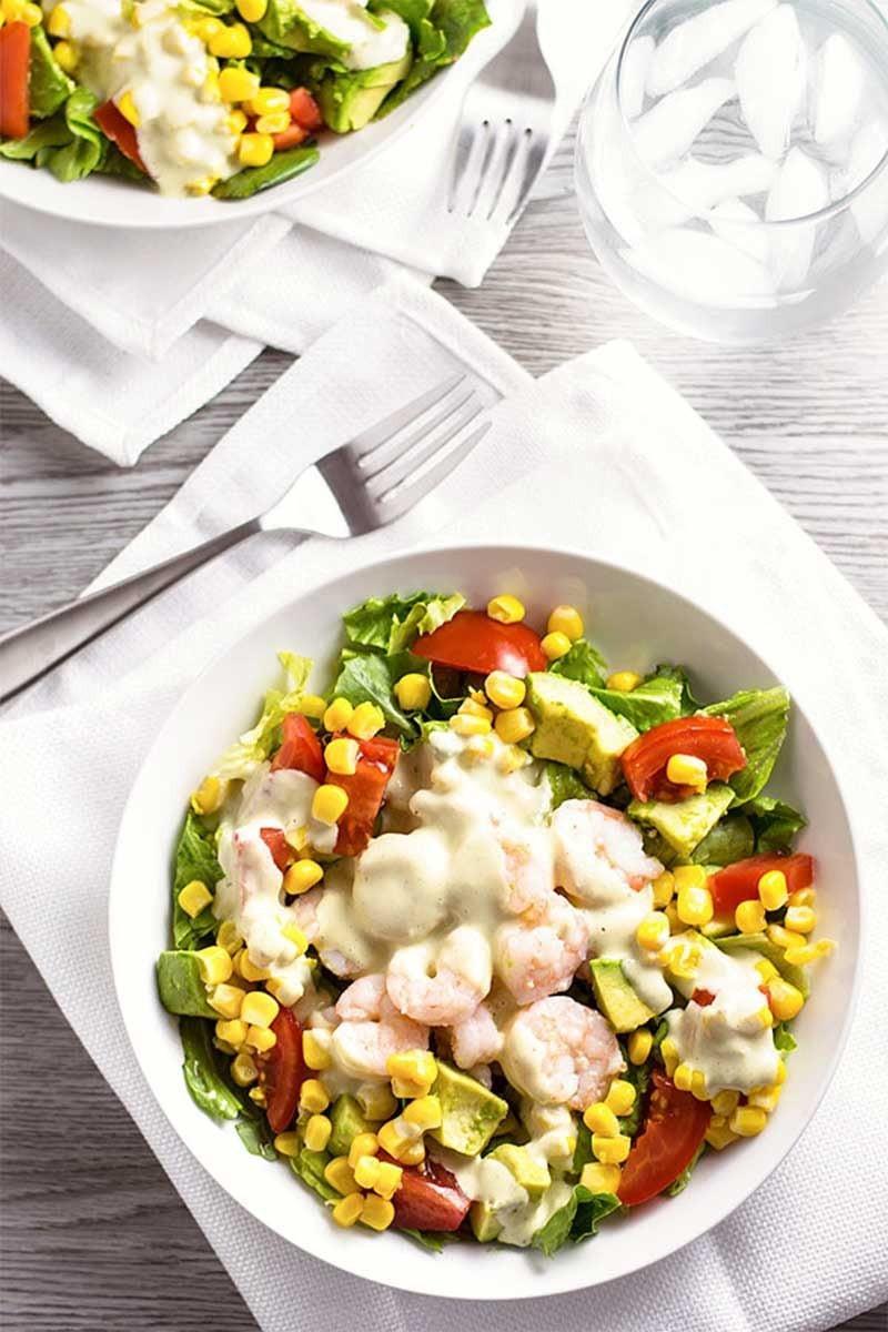 Shrimp Salad Dressings  Shrimp Salad with Creamy Pesto Dressing Homemade Hooplah