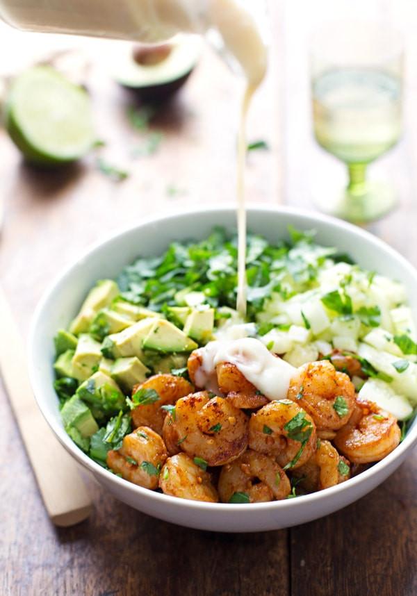 Shrimp Salad Dressings  Shrimp and Avocado Salad with Miso Dressing Recipe Pinch