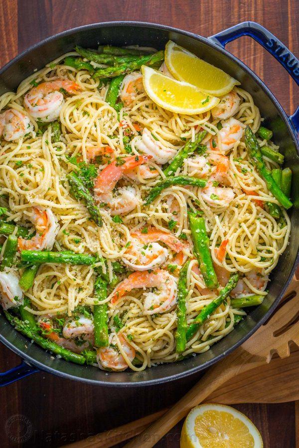 Shrimp Scampi Pasta  Shrimp Scampi Pasta with Asparagus VIDEO