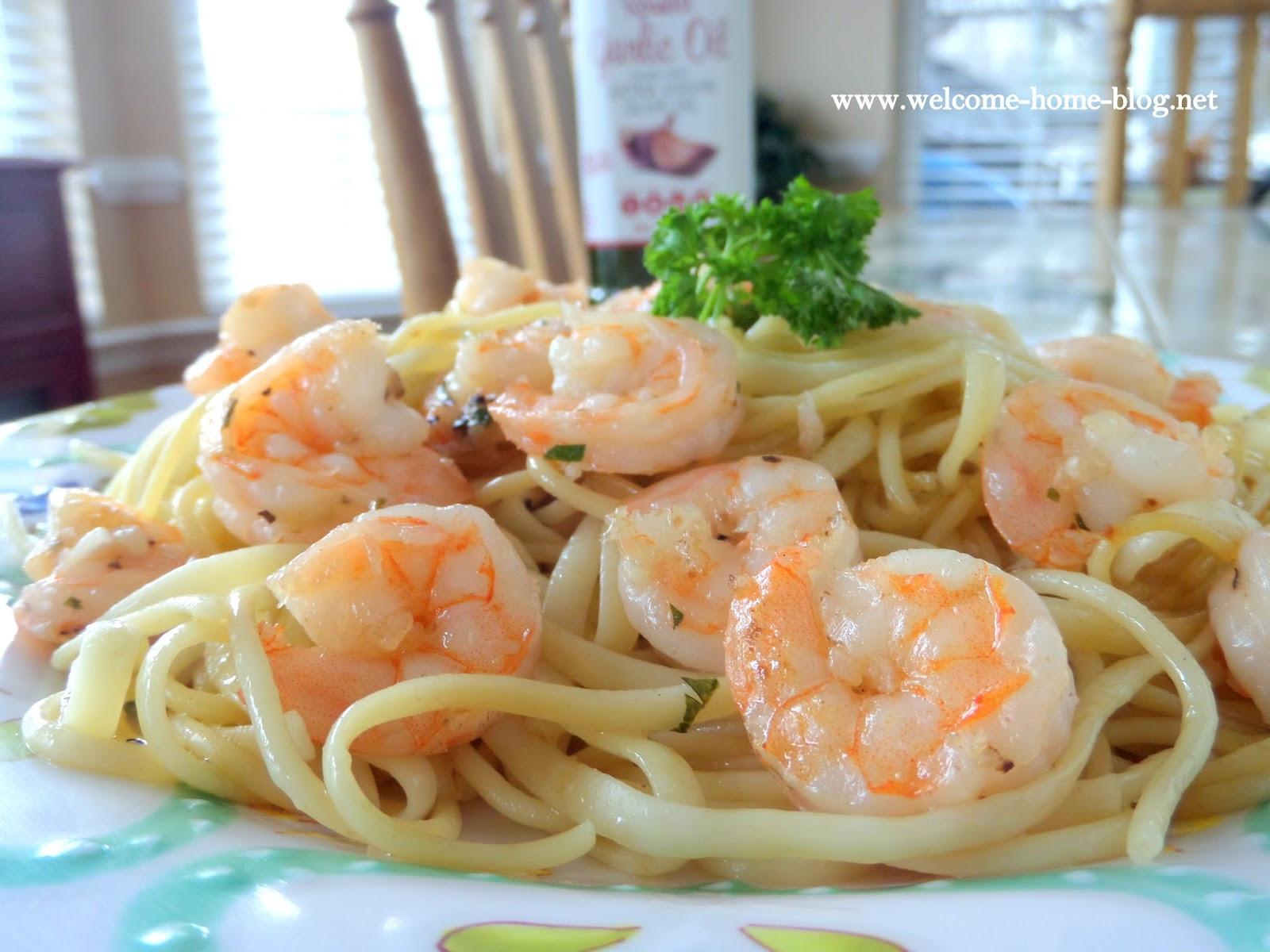 Shrimp Scampi Pasta  Wel e Home Blog Shrimp Scampi Over Pasta