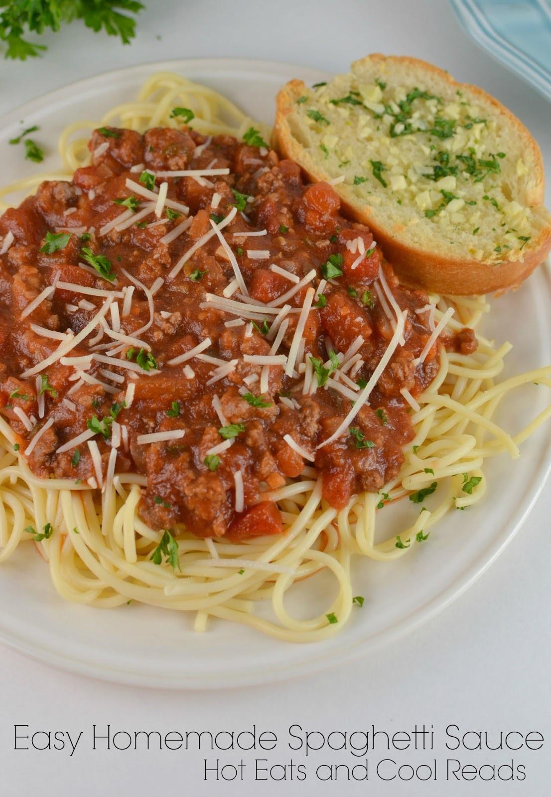 Simple Spaghetti Sauce Recipe  Hot Eats and Cool Reads Easy Homemade Spaghetti Sauce Recipe
