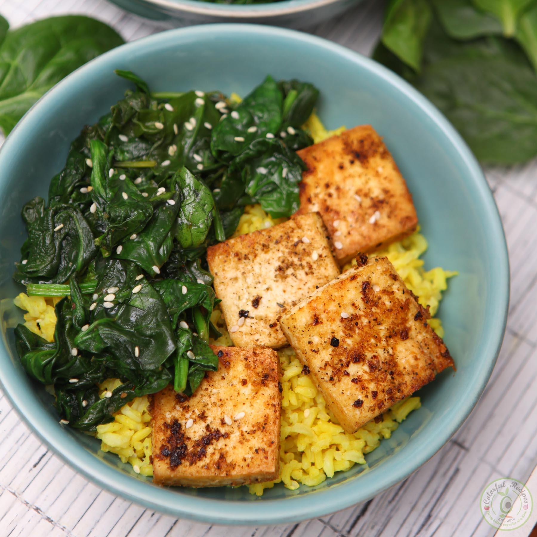 Simple Tofu Recipes  Simple Spinach Tofu With Turmeric Rice Colorful Recipes