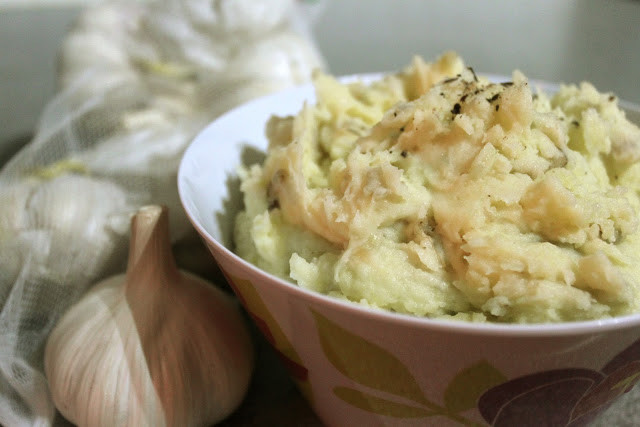 Skin On Mashed Potato  Skin on mashed potato with roasted garlic and thyme