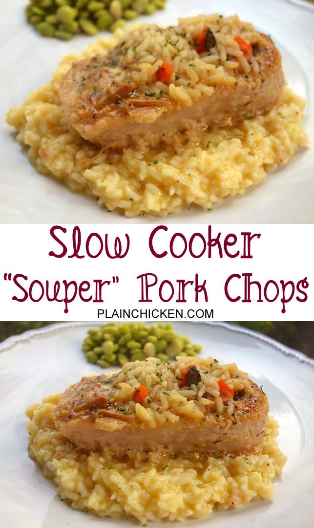 Slow Cooker Boneless Pork Chops  Souper Pork Chops Slow Cooker Plain Chicken