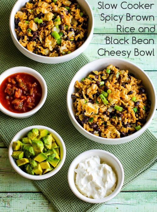 Slow Cooker Brown Rice  Slow Cooker Spicy Brown Rice and Black Bean Cheesy Bowl