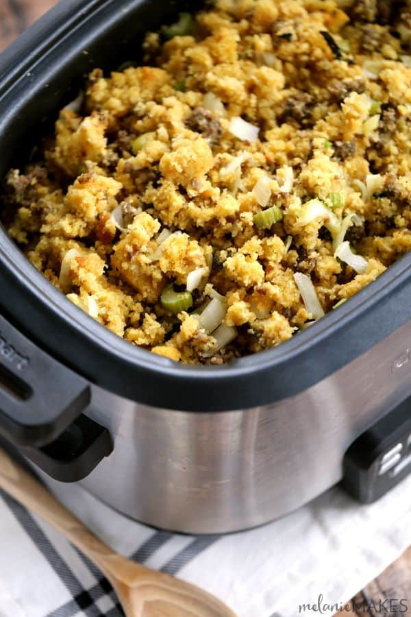 Slow Cooker Cornbread  Slow Cooker Cornbread and Sausage Stuffing Melanie Makes