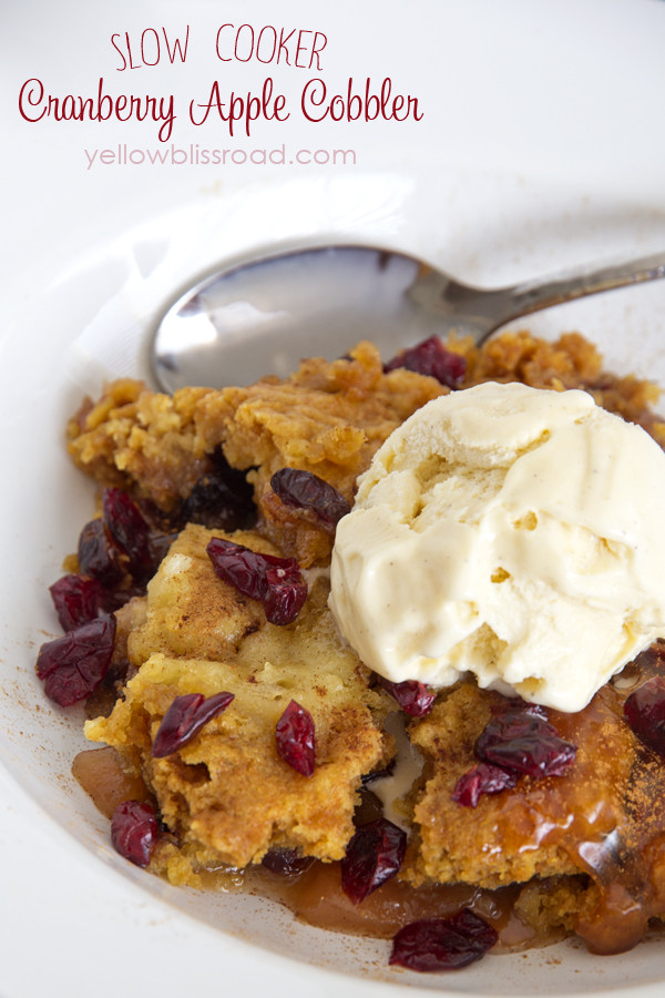 Slow Cooker Desserts Using Cake Mixes  Slow Cooker Cranberry Apple Cobbler Yellow Bliss Road