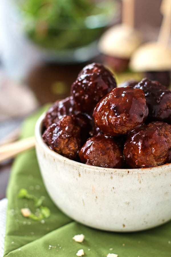 Slow Cooker Meatball Appetizer  Sticky BBQ Slow Cooker Meatballs with VIDEO Savory