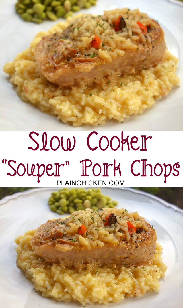 Slow Cooker Pork Chops And Rice  Souper Pork Chops Slow Cooker Plain Chicken