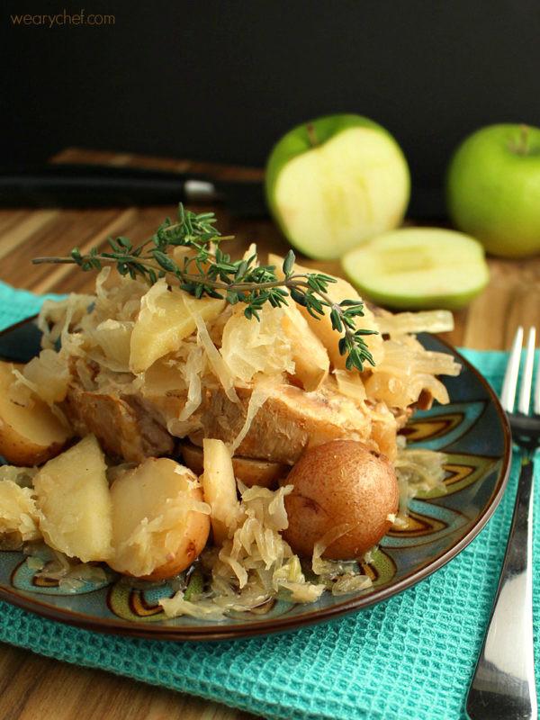 Slow Cooker Pork Chops With Apples  pork sauerkraut apples slow cooker