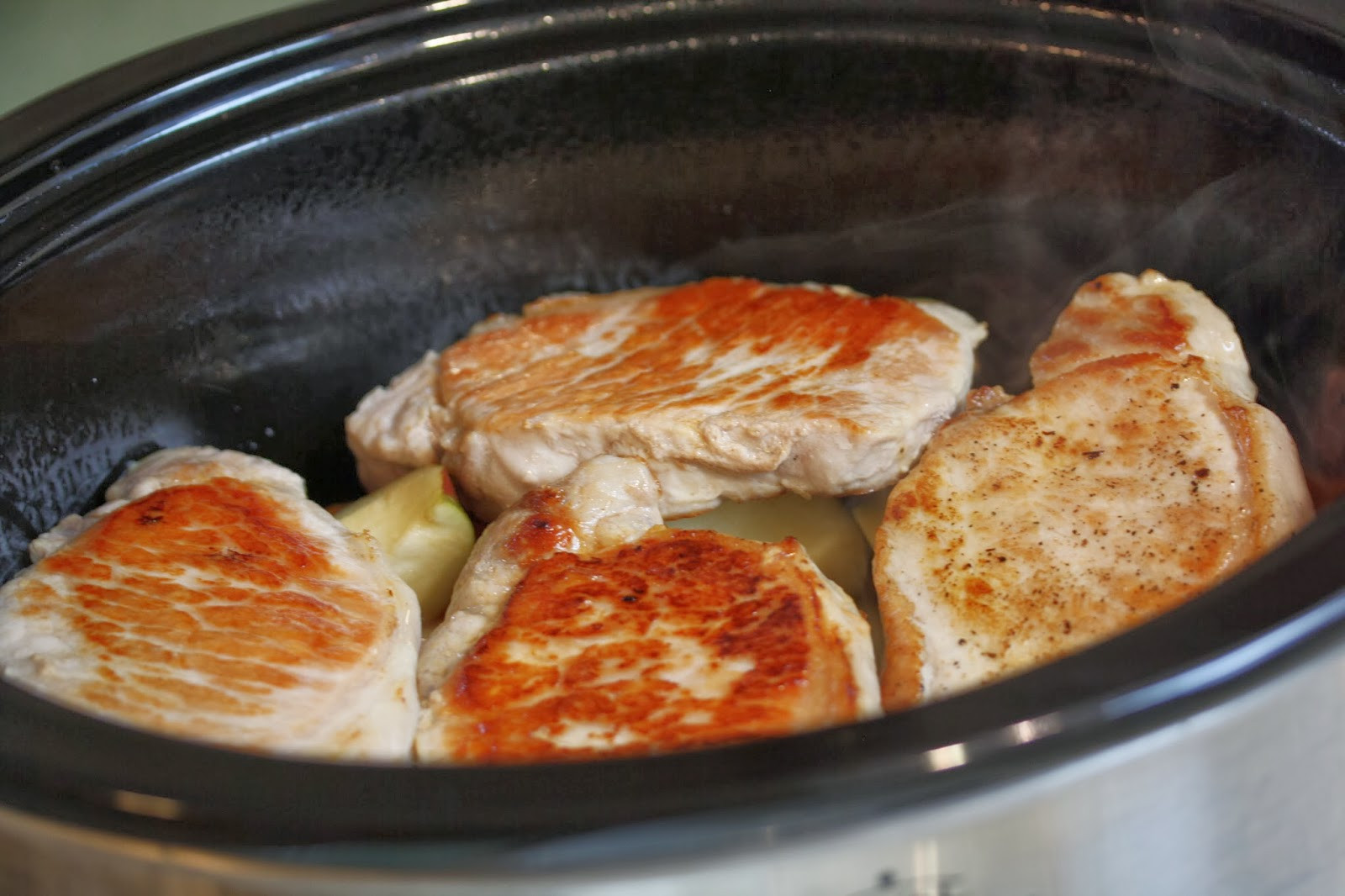 Slow Cooker Pork Chops With Apples  Hot Dinner Happy Home Slow Cooker Pork Chops with Apples