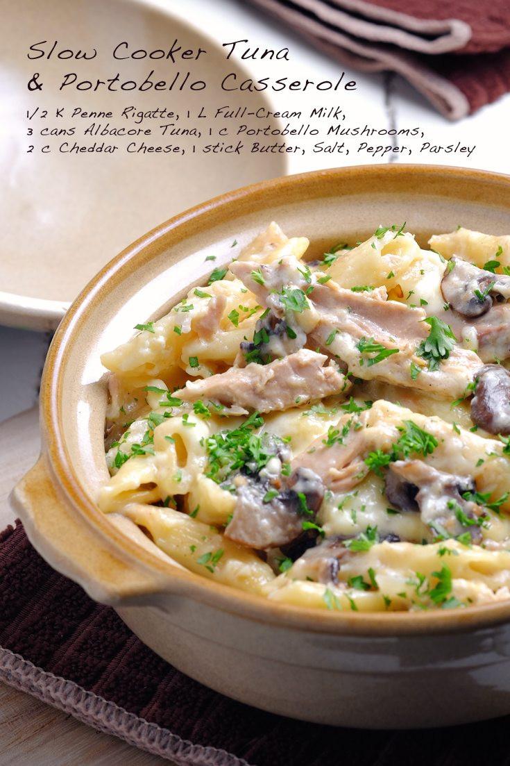 Slow Cooker Tuna Casserole  Slow Cooker Tuna and Portobello Casserole