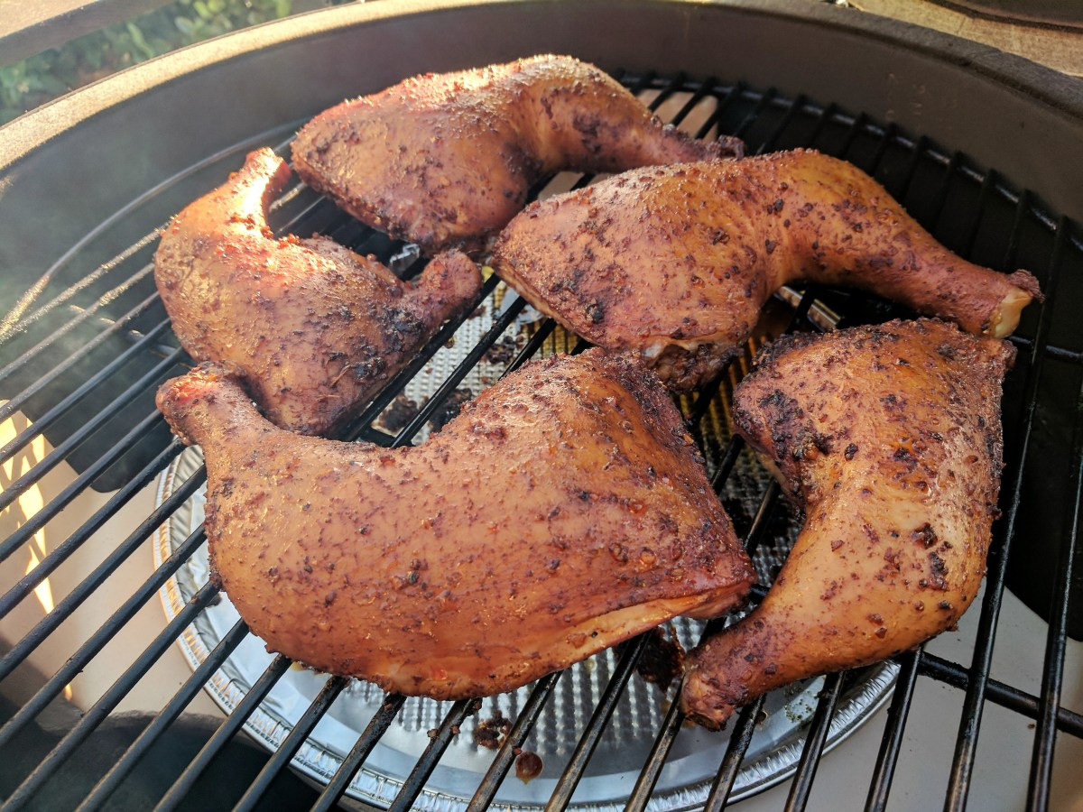 Smoking Chicken Legs  Big Green Egg Smoked Chicken Legs with Potato Salad and