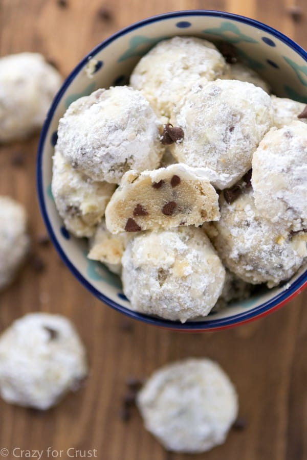 Snowball Cookies Recipe  Chocolate Chip Snowball Cookies Crazy for Crust