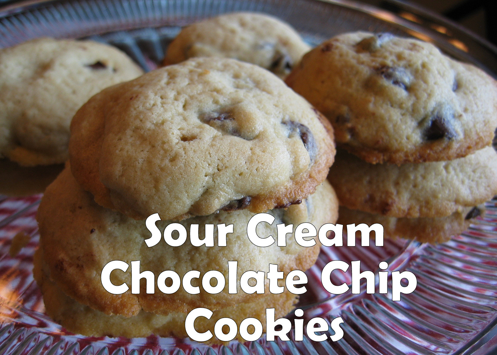 Sour Cream Chocolate Chip Cookies  Pink Cookies with Sprinkles Sour Cream Chocolate Chip