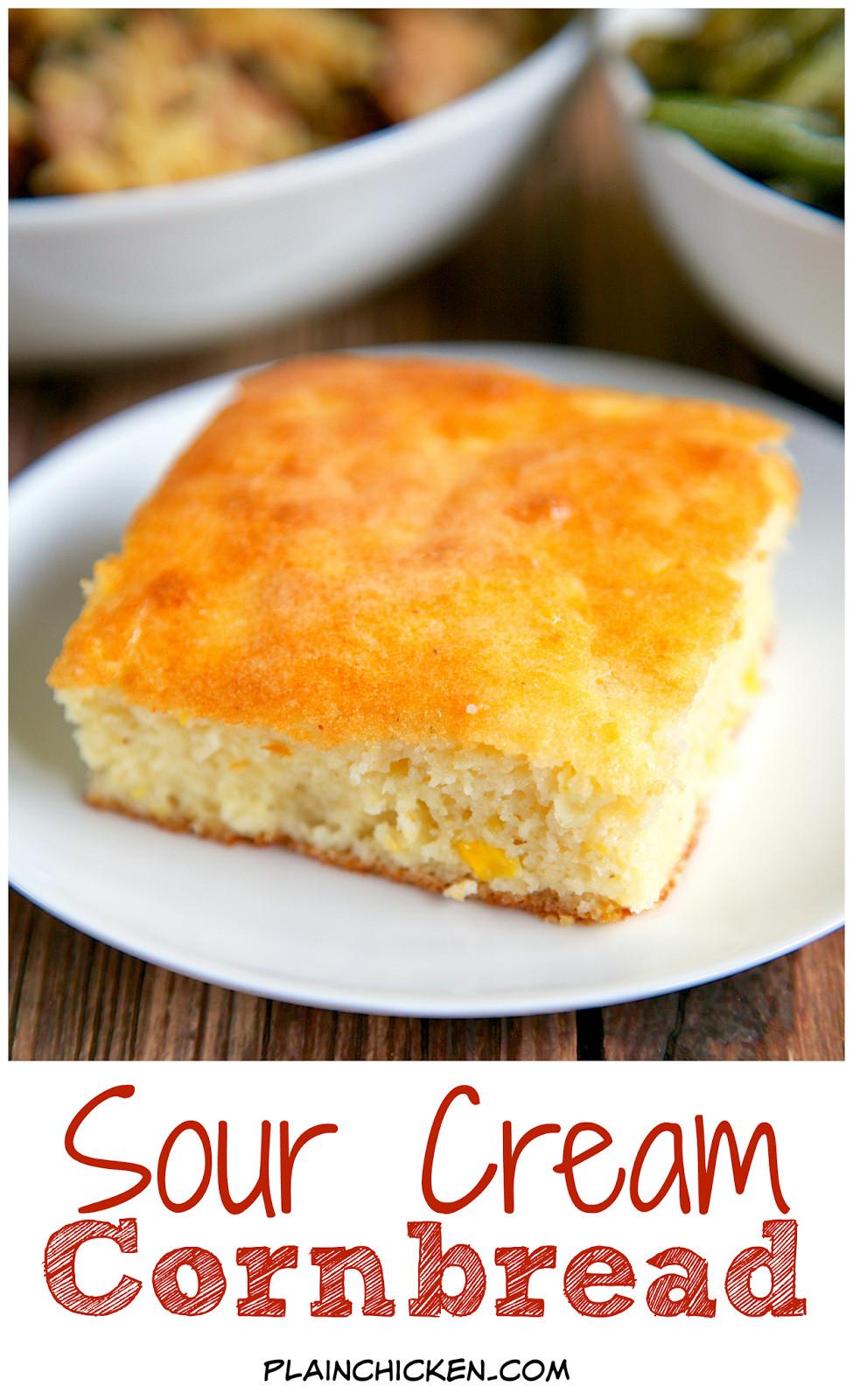 Sour Cream Cornbread  Sour Cream Cornbread Recipe only 5 ingre nts Ready in