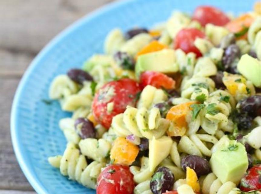 Southwest Pasta Salad  Southwestern Pasta Salad with Creamy Avocado Dressing