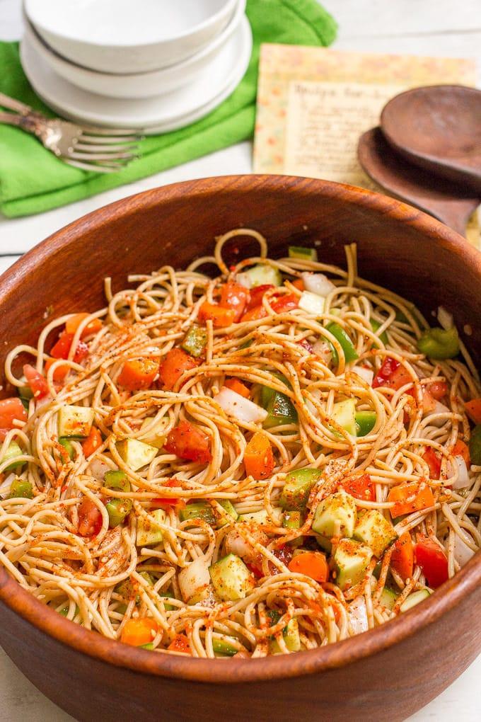Spaghetti Salad Recipe  spaghetti pasta salad recipe salad supreme