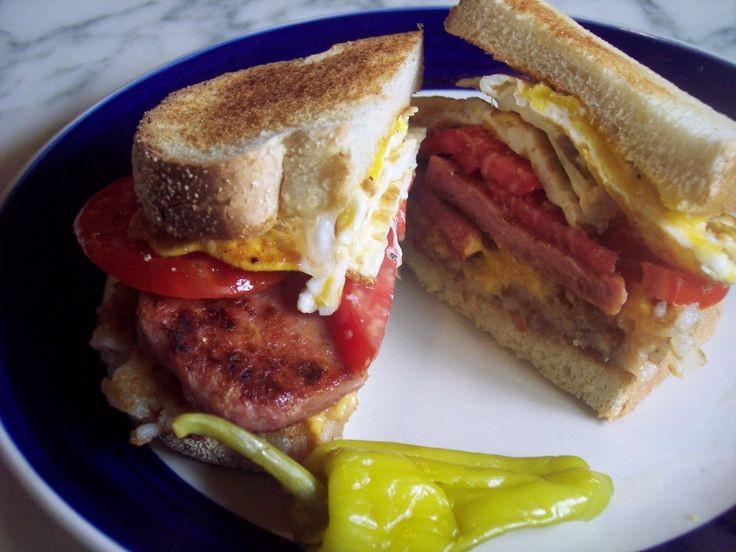 Spam Breakfast Recipes  Spam And Egg Breakfast Sandwiches Recipe — Dishmaps
