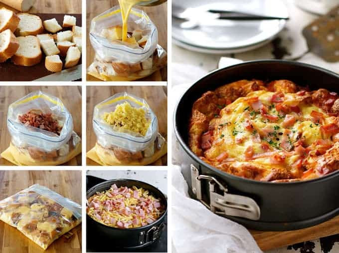 Stale Bread Recipes  Cheese and Bacon Breakfast Strata Cake Bread Bake