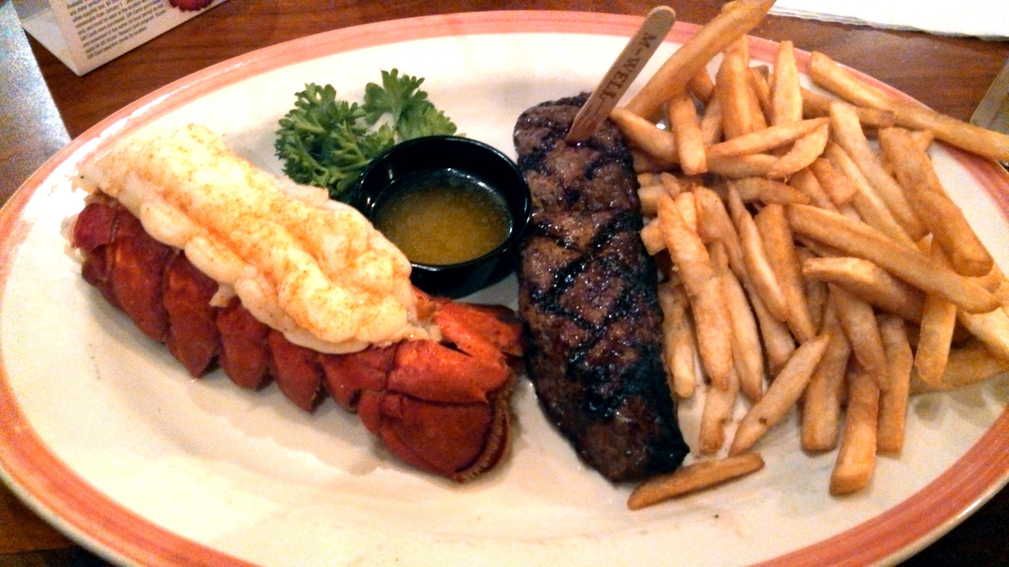 Steak And Lobster Dinner  File Sizzler steak and lobster Wikimedia mons