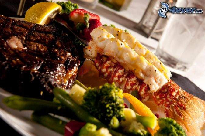 Steak And Lobster Dinner  Ve ables