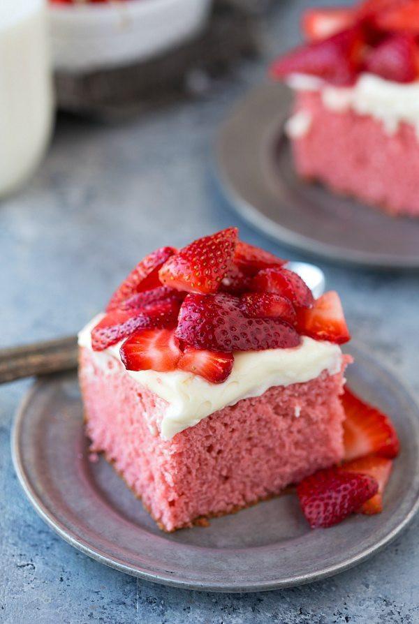 Strawberry Cream Cheese Desserts  Strawberries and Cream Cake Chelsea s Messy Apron