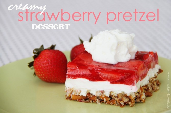 Strawberry Cream Cheese Pretzel Dessert  Cream Cheese Strawberry Pretzel Dessert oh yum