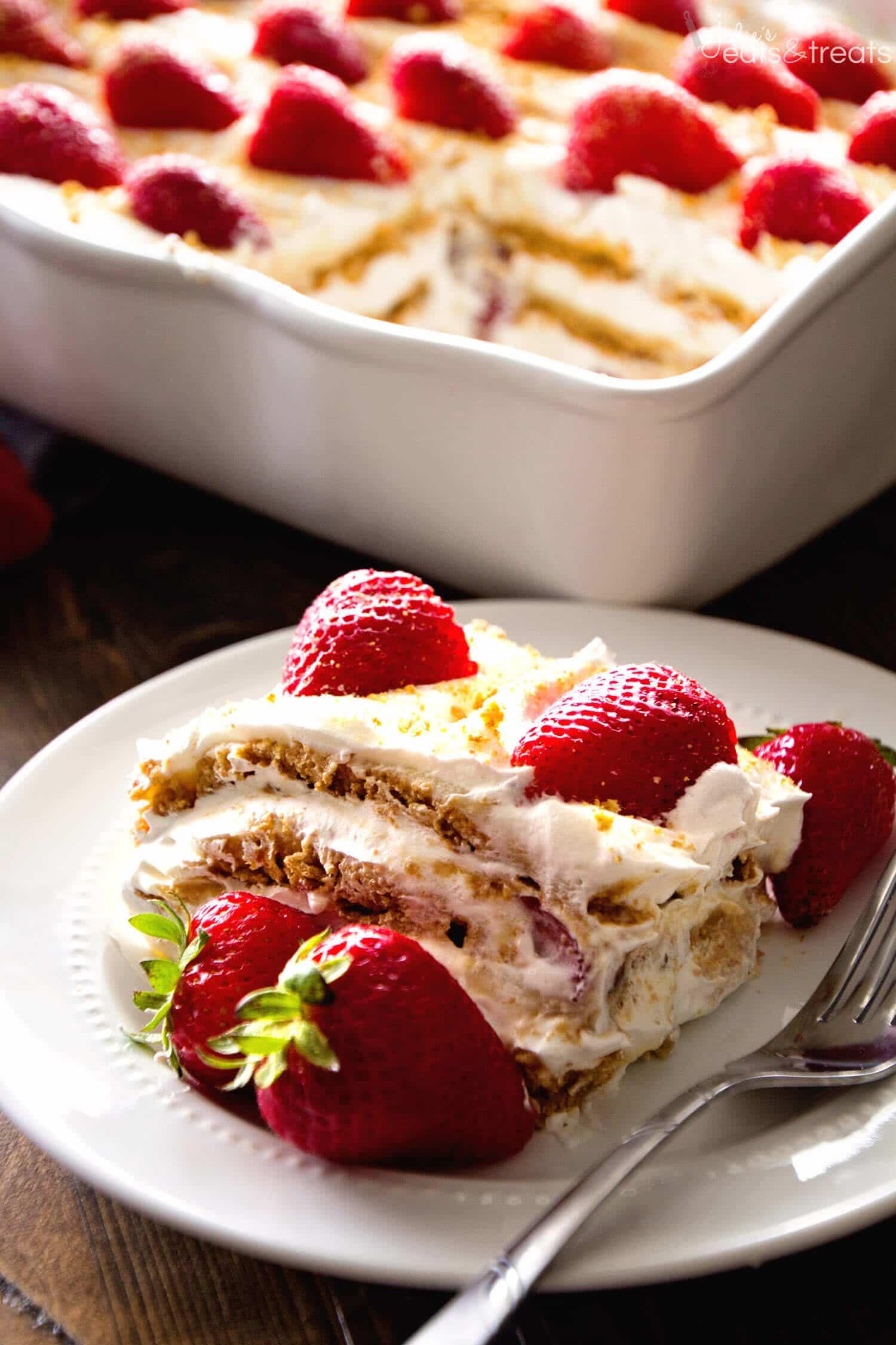 Strawberry Graham Cracker Dessert  No Bake Strawberry Cheesecake Icebox Cake Recipe Julie s