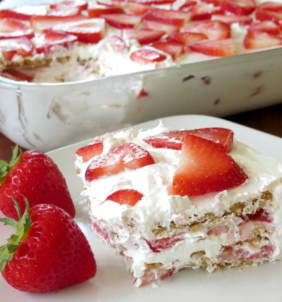 Strawberry Graham Cracker Dessert  Strawberry Icebox Cake Sprinkle Some Sugar