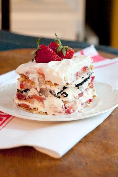 Strawberry Graham Cracker Dessert  fresh strawberry icebox cake with graham crackers