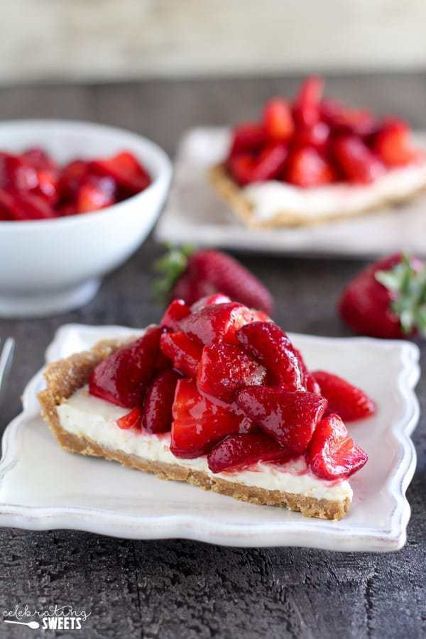 Strawberry Graham Cracker Dessert  Strawberry Cream Cheese Pie Easy No Bake Pie in a Graham