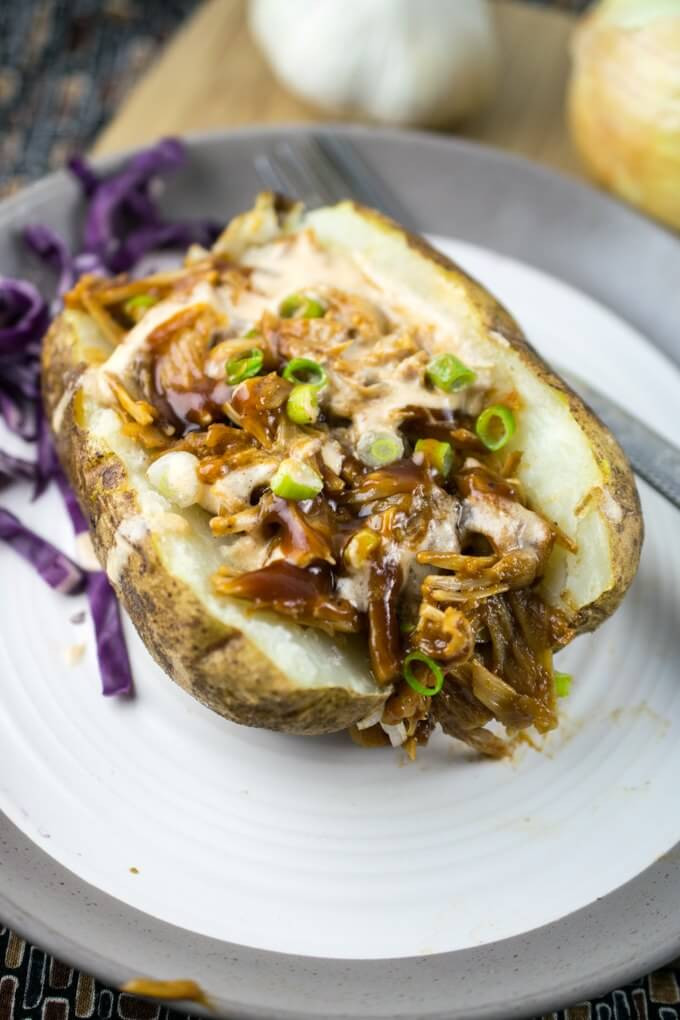 Stuffed Baked Potato  BBQ Jackfruit Stuffed Baked Potatoes Recipe