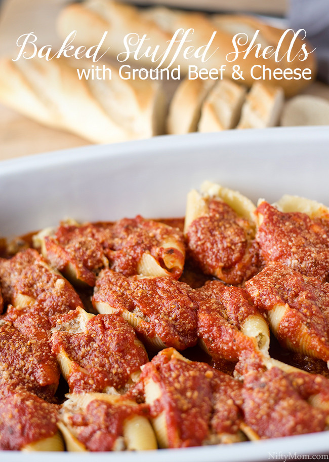 Stuffed Shells With Ground Beef  Stuffed Shells with Ground Beef & Cheese