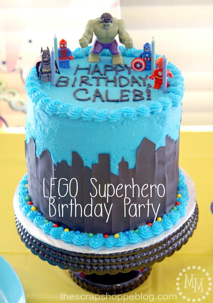 Superhero Birthday Cake  Lego Superhero Birthday Party The Scrap Shoppe