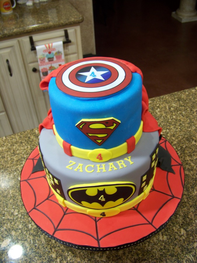 Superhero Birthday Cake  Superhero Cake Spiderman Batman Superman & Captain