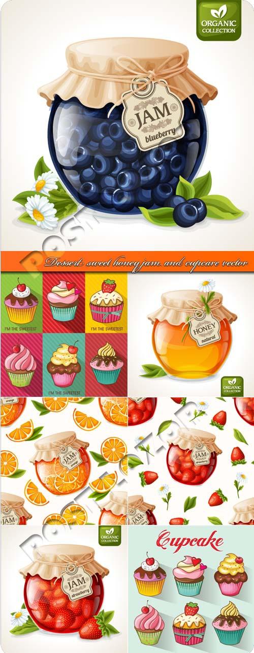 Sweet Honey Dessert  Dessert sweet honey jam and cupcare vector AvaxHome