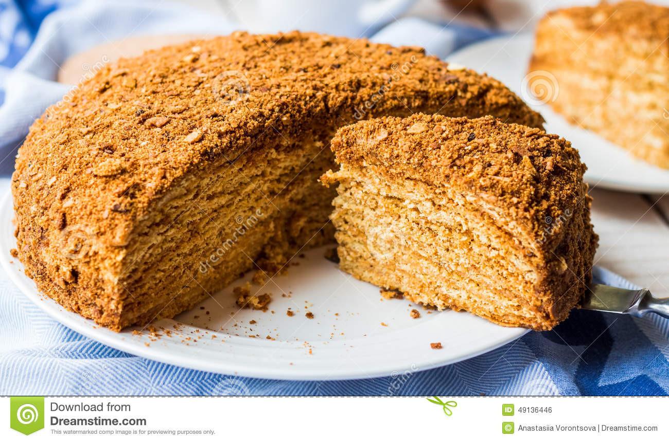 Sweet Honey Dessert  Honey Cake With Cream Shortcakes Impregnation Sweet
