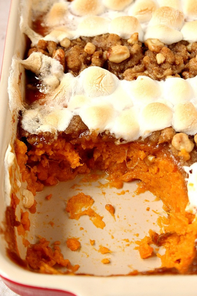 Sweet Potato Casserole Marshmallow  Sweet Potato Casserole with Praline Marshmallow Topping