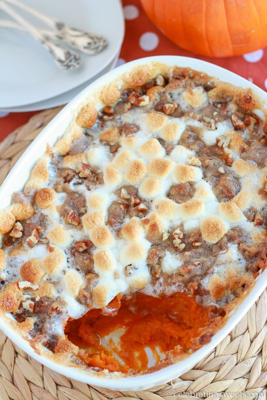 Sweet Potato Casserole With Pecans And Marshmallows  25 Make Ahead Thanksgiving Casseroles