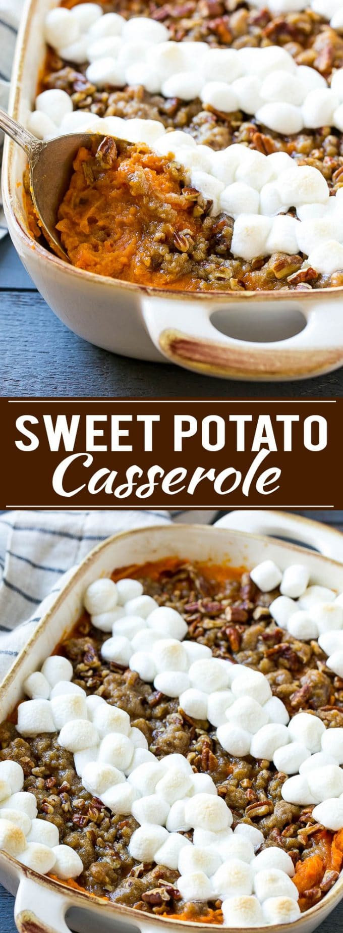 Sweet Potato Casserole With Pecans And Marshmallows  sweet potato casserole with pecan and marshmallow topping