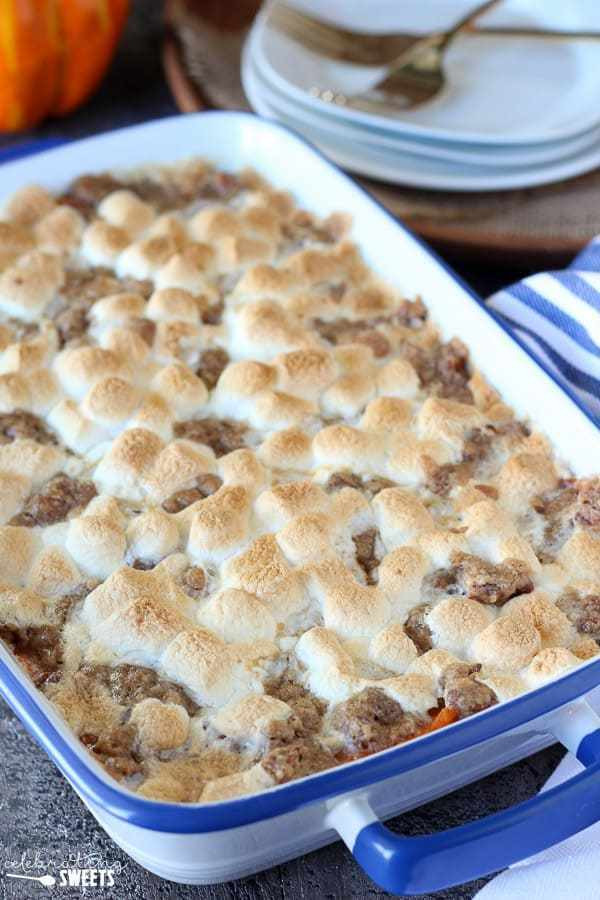 Sweet Potato Casserole With Pecans And Marshmallows  Sweet Potato Casserole with Marshmallows & Streusel