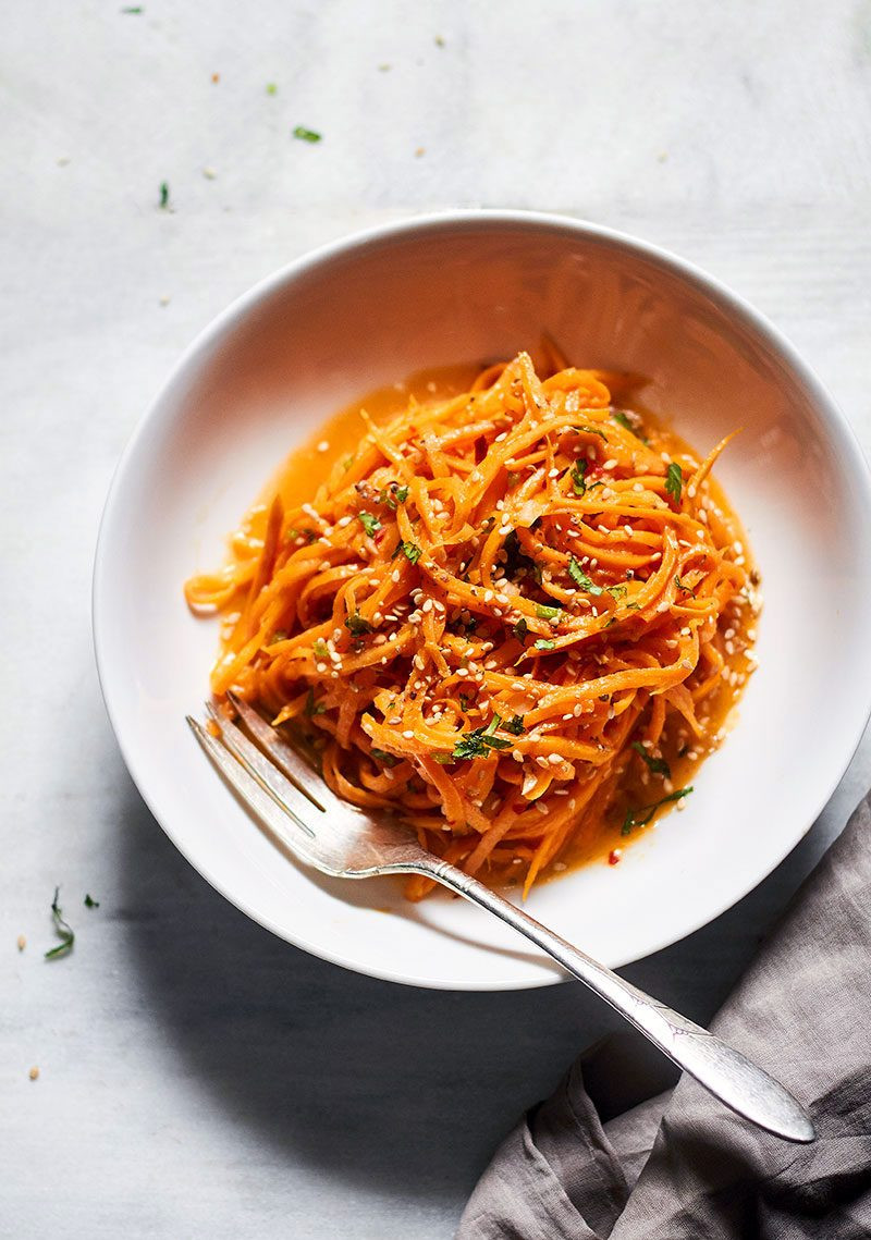 Sweet Potato Noodles Recipe  Garlic Butter Sweet Potato Noodles Recipe — Eatwell101